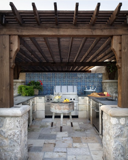 A Gorgeous Outdoor Kitchen Reminiscent Of Tuscany Peter Balsam - Red stone outdoor kitchen