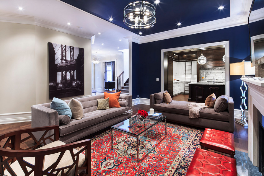 Navy Living Room with Red Accents | Peter Balsam Associates