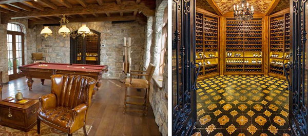 historical interior gaming and winecellar