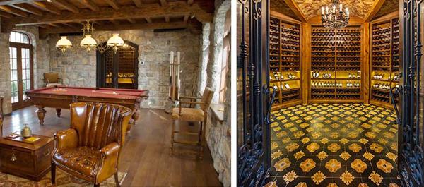 historical interior gaming and winecellar