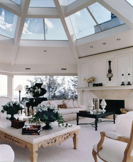 white furnishings livingroom with dramatic skylight southampton new york