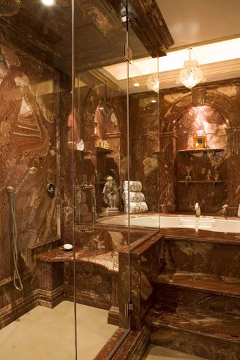 Red onyx shower and bath traditional style new york