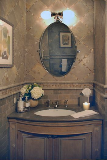 Rose guest Bath interior design traditional duplex ny
