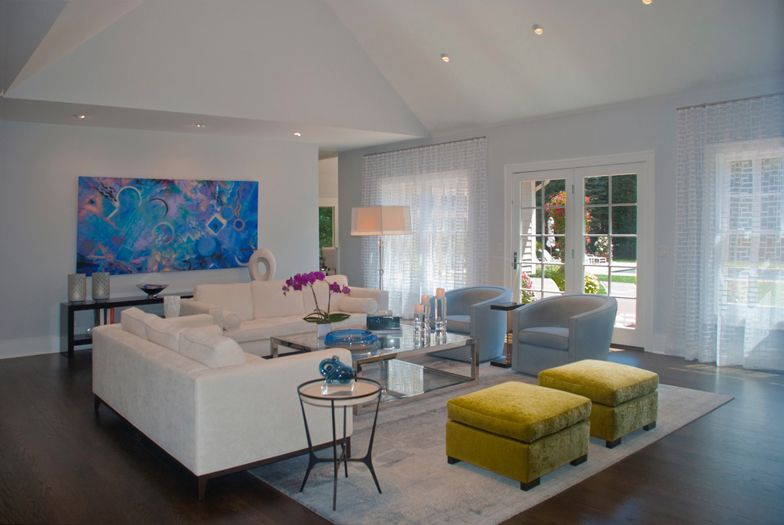 East Hampton living room - interior design by The Balsam Group