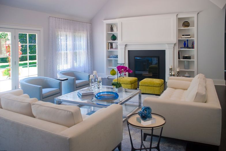 Living Room in East Hampton home - interior design by The Balsam Group