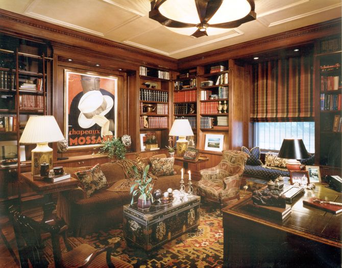 English media room and library interior new york