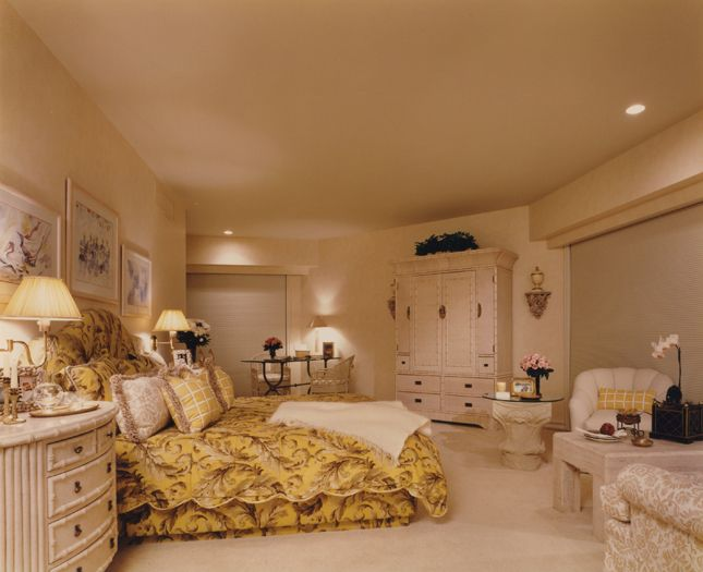 white and gold bedroom interior southampton new york