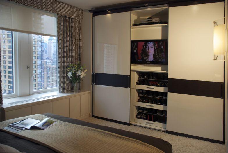 art collectors bedroom interior design showing closets