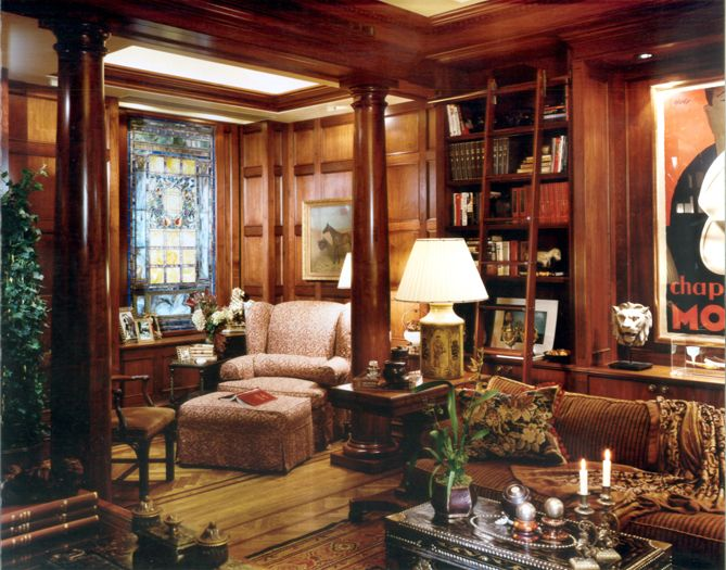 New York media room and library interior design