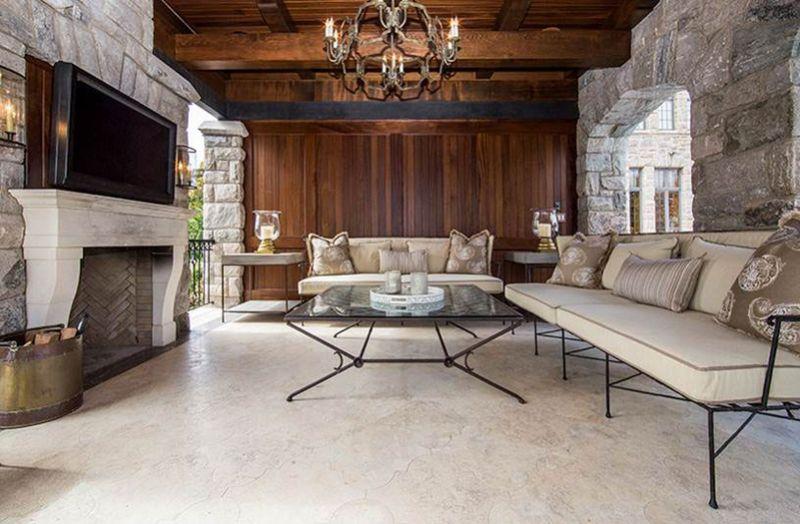 pool house interior design wrought iron furniture