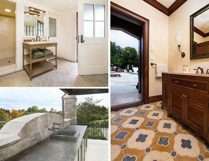Poolside and Bath in Armonk New York Restored Castle