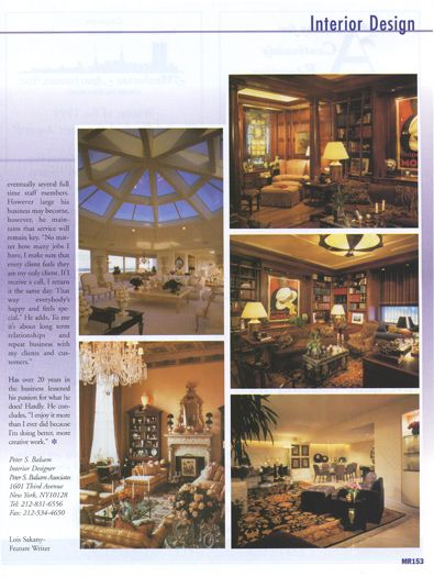 Mann Report Magazine features Peter S. Balsam Associates