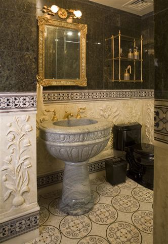 traditional duplex ny powder room overview