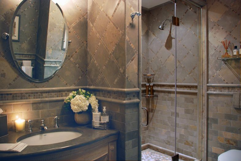 Rose Bath interior design traditional duplex ny