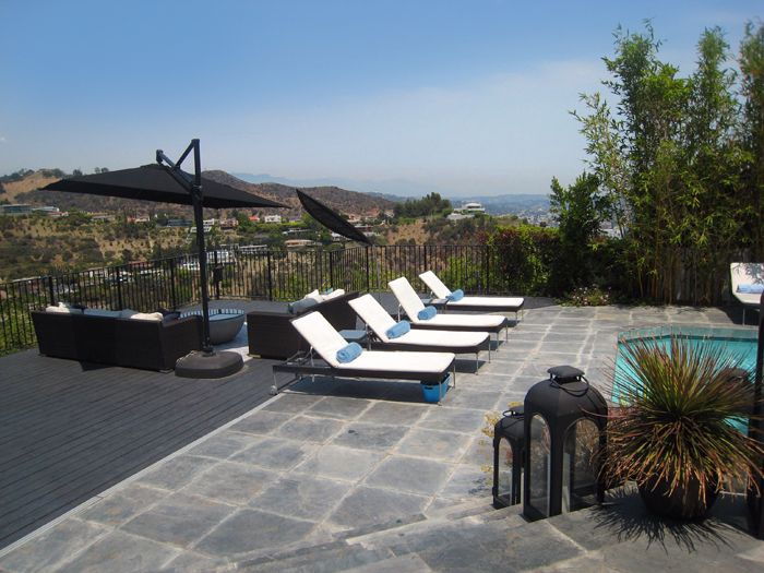 Hollywood Hills Outdoor Pool Area Design and View