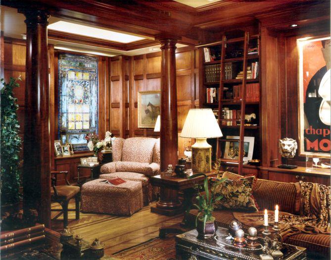New York media room and library interior design
