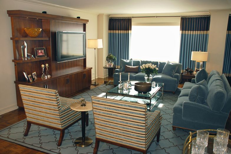 Livingroom Interior Design Blue and Brown New York